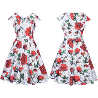 Vertrag Farbe Sailor Neck gefaltet Party Kleider Vintage Floral Printed Sleeveless Elegant Casual A Line Kleid