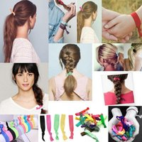 Wholesale Tie Knot Gifts - 100 Pcs lot (24 Colors Option) New Knotted Ribbon Hair Tie Ponytail Holders Stretchy Elastic Headbands Kids Women Hair Accessory