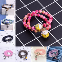 ingrosso perline di cristallo antico-Braccialetto Fox Natural Rose Stone 9 Styles Handmade Crystal Beads Multi-Layer Charm Stretch Wrap Bracciali Tibet Antique Silver Jewelry B910S