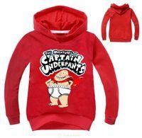 ingrosso hoodies dei costumi da ragazzi-2017 Captain Underpants Sweatshirt For Girls Boys Felpa con cappuccio New Movie Costumes Black Tops Autunno manica lunga T-shirt