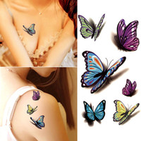 kına dövmesi su geçirmez çıkartmalar toptan satış-Su geçirmez Kına Dövme Özçekim Sahte Dövme Etiket Renkli Kelebek 3D Geçici Dövme Vücut Sanatı Flaş Dövme Çıkartma