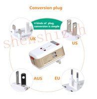 Wholesale Multi Dock Iphone - Royal high-end smart timing travel power conversion plug global Multi-functional plug input 110-240V dual USB2.1A output UK EU US AUS socket