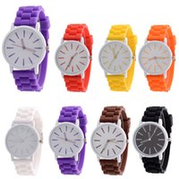 Wholesale Relojes Geneva Silicone - Women Sport Watch 2017 Hot Sale Relogio Feminino Top Brand Luxury Fashion GENEVA Silicone Rubber Quartz Wrist Watch Gift Relojes