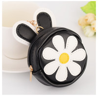 Cute Little Daisy Girl PVC Couro Rabbit Ear Car Chaveiro Mini Wallet Purse Bag Pendant Ornamentos Gift Key Ring Jewelry