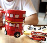 Wholesale Mugs For Kids - NEW cartoon ceramic cups london bus mugs for gifts porcelain tumbler for kids London Bus Coffee Mugs Red Bus Coffee Cup Mugs KKA1806
