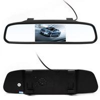 rear vision mirror camera بالجملة-حار 4.3 بوصة سيارة lcd الخلفية مرآة الرؤية الخلفية مراقب مراقب كاميرا ccd فيديو وقوف السيارات المساعدة led للرؤية الليلية عكس