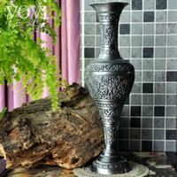 ingrosso decorazioni di fiori grande vaso-Grandi vasi da tavolo in metallo retro incisi europei decorazione vaso vaso decorativo per la casa