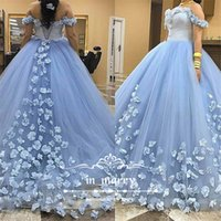 Wholesale Sexy Dress 18 - Light Blue Sweet 16 Quinceanera Prom Dresses 2017 Ball Gown Off Shoulder 3D Flowers Puffy Tulle Arabic 18 Princess Communion Party Gowns