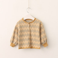 Everweekend Girls Wave Candy Color Sweater Candigan Осенняя весна Vintage Корея Детская куртка Outwears Cute Baby Tops