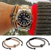 Wholesale Womens Woven Bracelets - 2016 Anil Arjandas One Micro Inlay Zircon Discos Ball Bracelet Paved Macrame Weave Bracelets Mens&Womens New Style Accessories