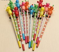 Wholesale Wooden Animals Heads - Cute Wooden Animals Students Standard Pencil With Shakable Head Children Cute Study Cartoon Personality Kids Pencil Gifts G875