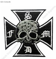 """Wholesale Ironing Label - 3"""" BLACK LABEL SOCIETY BLS IRON CROSS SKULL Music Band LOGO Embroidered IRON ON Patch Heavy Metal"""