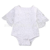 Wholesale Girls Short Floral Jumpsuit - 2017 Ins News Baby Girl White Lace Rompers Infant Toddlers Floral Fly Sleeve One Piece Jumpsuit