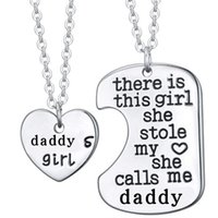 Wholesale Wholesale Stainless Steel Letter Pendants - 2Pcs Silver Letter Heart Tag Necklaces Daddy Daughter Dad Father Chain Girl Gift