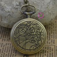 relógios antigos venda por atacado-Atacado-moda de quartzo mulher astronomia médico que relógio de bolso colar classic vintage antique fob relógios bronze antigo clássico retro