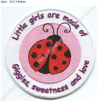 """Wholesale Pink Ladybug - PINK LADYBUG IRON ON PATCHES Applique for girls dress Embroidered Badge """"little girls are made of giggles, sweetness and love"""""""