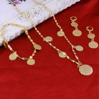 Wholesale Real Muslim Necklaces - Bracelet Necklace Earrings set Islamic Muslim Arab Coin Money Sign Women 22K Real Yellow Gold GF Middle Eastern Africa Jewelry