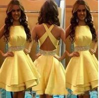 Wholesale Mini Skirts Satin Girls - 2017 Short Girls Party Dresses Yellow Satin Beading Sash Tiered Ruffle Cheap Skirt Mini Cocktail Homecoming Formal Gown