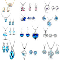 Wholesale earring variety - 12Set Luxurious Pendants Necklace Earrings Flower Crystal Necklace and earrings Sets a variety of styles for Women Party Jewelry Set