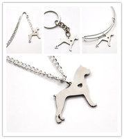 Wholesale Boxer Love - Boxer dog necklace charm heart cute dog pet i love dogs charm pendant necklace bangle keyring bookmark