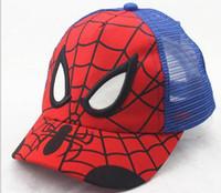 Wholesale Spiderman Baby Hat - Snapback Net hat child sun hat hat baby cap caps cartoon Spiderman Superman hip hop hat
