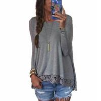 plus größenneuheitst-shirts großhandel-Fashion-new Nizza Fashion Brand T-Shirt Frauen Langarm Sexy Lace Crochet T-Shirt Stickerei Strick Slim Neuheit Womentops Plus Size