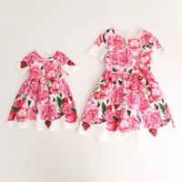 Wholesale Holiday Dress Rose - Everweekend Girls Rose Flower Print Ruffles Summer Cotton Dress Sweet Children Western Fashion Holiday Dresses