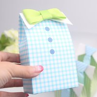 Wholesale Blue Wedding Cards Design - 100pcs Tie Boy Candy Box Green or Blue Gird Gift Box Baby shower Big Box Unique and Beautiful Design