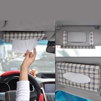 Wholesale Tissue Holder For Car Visor - Plaid Paper Towel Napkin Holder Box Tissue Case Cover for Car Sun Visor