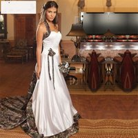 Wholesale Cheap Flower Robes - Camo Wedding Dresses Mermaid Halter Cheap Camouflage Cheap Bridal Dress with Hand Made Flowers Robe De Mariage