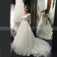 oriental wedding gowns - Arabic Oriental Wedding Dresses Turkey Sexy Illusion Neck Court Train Robe de Mariee China Alibaba Bridal Gowns with Sleeves