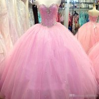 Wholesale Modest Pink Sweetheart Crystal Beaded Tulle Ball Gown Quinceanera Dresses Exquisite Lace Up Back Sweet Masquerade Pageant Party Gown