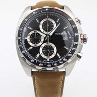 Wholesale Mens Large Dial Watch - Free Shipping High quality stainless steel quartz chronograph Large dial 46mm Leather band watch luxury fashion mens watch
