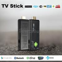 Wholesale mini pc android tv box 4.4 resale online - High Quality HDMI Android TV Dongle Box Quad Core Mini PC MK809IV P Full HD D Media Player GB GB
