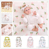 Wholesale Bunny Robe - Newborn Baby Swaddling Blankets + Bunny Ear Headbands Set Baby Floral Swaddle 100% Cotton Towel Wrap Hairbands Bird Fruit Print BHB13