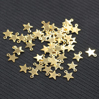Wholesale Gold Plated Jewelry Making Supplies - Tiny Gold Plated Star Slice Pendants For Jewelry Making Craft Supplies Wholesale Charms YHA-293-5