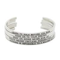 braceletes inspirados para homens venda por atacado-Jóias Panpan! Aço Inoxidável 316L Gravado Positivo Citações Inspiradas Manguito Mantra Pulseira Bangle para mulheres homens