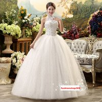 Wholesale Married Pictures - Bride New Sexy Vintage Halter White A-Line Wedding Dresses Lace-Up Floor-length Women Married Sequins Lace Dresses Slim Chapel Wedding