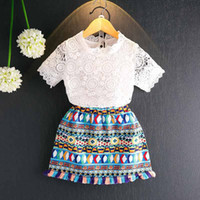 Wholesale T Shirts Crochet Flowers - Bohemia New Fashion Girls Dress Suits lace crochet T-shirt tee Topsa Flower skirt Children set Infant Outfit Toddler Clothes Clothing A405