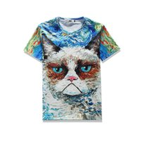 Crew Neck black cat paints - 2017 sping new summer wear high quality cotton plend novelty tees d print big cat oil painting mens tee unisex o neck t shirts