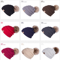 Wholesale Wholesale Luxury Faux Fur - 9 Colors 2018 Luxury Brand Winter Thick Warm Lined CC Beanie hats Skullies For Women Designer Casual Faux Fur Pompom CC Beanies Gorra