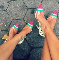 ingrosso i puntini neri scarpe le donne-Hot Transpatent PVC Sandali con tacco alto da donna Black Dots Orinting Leather Women Pumps Watermelon Pattern con punta a punta Scarpe da donna