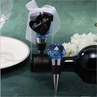 "Wholesale Wedding Wine Stoppers - Blue And Silver Crystal Ball Wine Bottle Stopper with ""Thank You"" Love Signage Wedding Favor Gift"