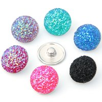 Wholesale Diy Resin Flatback - Top Quality 12mm Random Mixed Of Mineral Surface Flatback ROUND Resin DIY Craft Snap Buttons For Interchangeable Charm Bracelets
