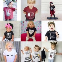 Großhandel Sommer Baby Jungen T-Shirts Print Kinder Tops 100% Baumwolle Baby Kleidung Mädchen T-Shirts Kinder T-Shirt Jerseys 70 80 90 100 Outfits Bluse