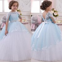 Wholesale Dress Gril Blue - Blue 2017 Lace Applique Crystal Bow Half-Sleeves Beautiful Ball Gown Flower Gril Dresses Jewel Floor Length Sash