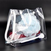 Wholesale Transparent Makeup Case - Fashion brand clear cosmetic case luxury transparent makeup organizer bag beauty toiletry pouch clutch purse boutique VIP gift wholesale