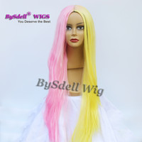 Wholesale Yellow Long Wigs - Beauty Harajuku Pastel Yellow Joint Pink Color Wig Synthetic Long Straight None lace wig  Lace Front Wig  Full Lace Wigs for Sale