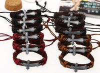 Wholesale Wholesale Mens Bracelet Sets - church gift cross Jewelry fashion Leather bracelet Handmade Charms Bracelet Lover Gift Christian mens women free shipping
