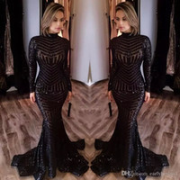 Wholesale Hand Strap Bling - New Michael Costello Long Sleeves Prom Dresses 2017 Bling Bling Black Sequins High Neck Mermaid Sexy Celebrity Gowns Pageant Evening Dresses